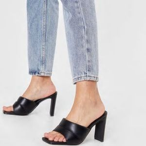 Nasty Gal Padded Faux Leather Block Heeled Mules
